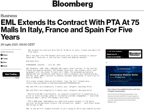 EML Extends Its Contract With PTA In Italy, France and Spain